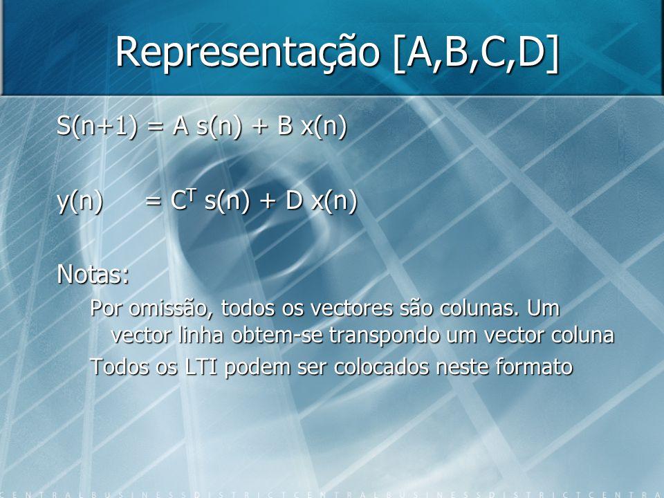 Representação [A,B,C,D] S(n+1) = A s(n) + B x(n)
